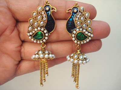 Meenakari Peacock Jhumka Earrings