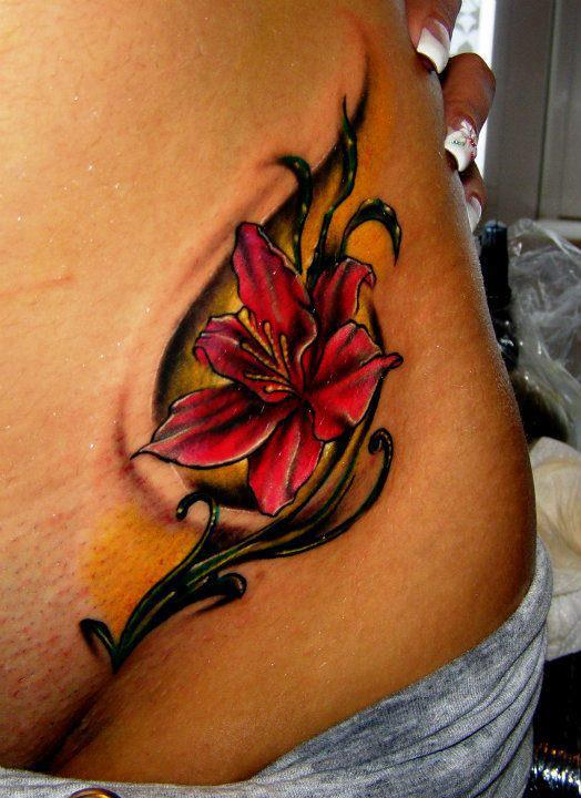 Red lilly flower female tattoofemale tattoos gallery for Red flower tattoo