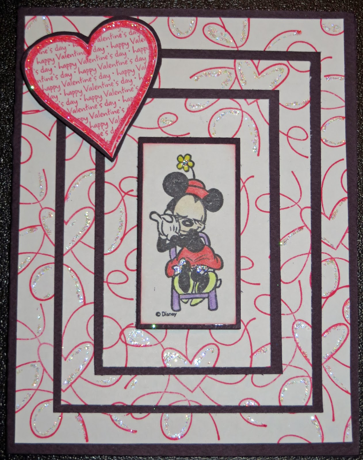 Rubber stamps for crafting - The Recipe For This Card Is Paper From My Stash Minnie Mouse Stamp From Rubber Stampede Background Heart Stamp By Studio G Katie Co Designer
