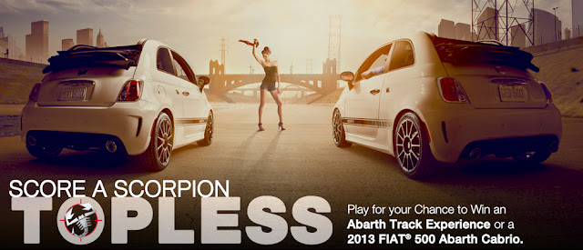Play for your chance to win an Abarth Track Experience or a 2013 FIAT 500 Abarth Cabrio