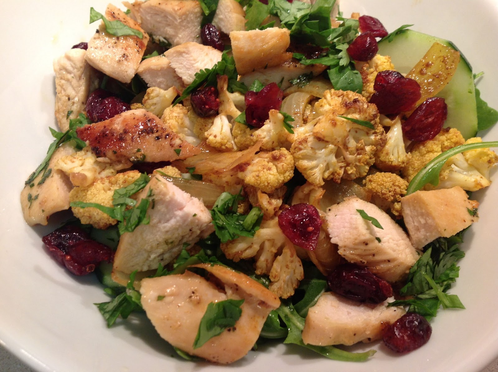 Agave-Mezcal Chicken and Curry Roasted Cauliflower Salad
