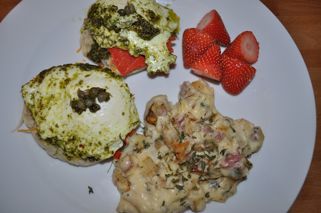 eggs pesto english muffins smoked salmon capers potatoes