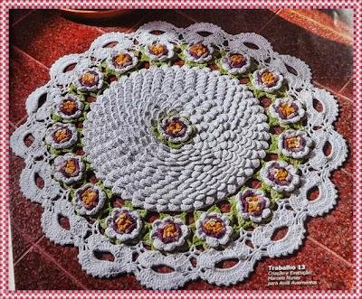 Tapete de Crochê redondo para sala em ponto escama