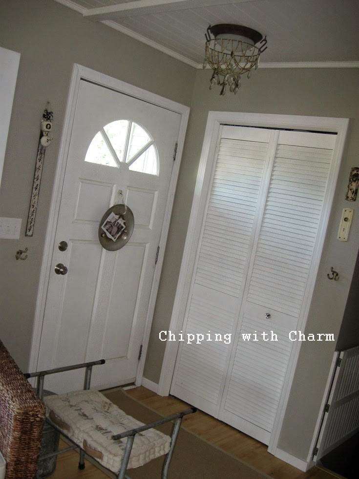 Chipping with Charm: Entry Closet Redo with vintage lockers...www.chippingwithcharm.blogspot.com