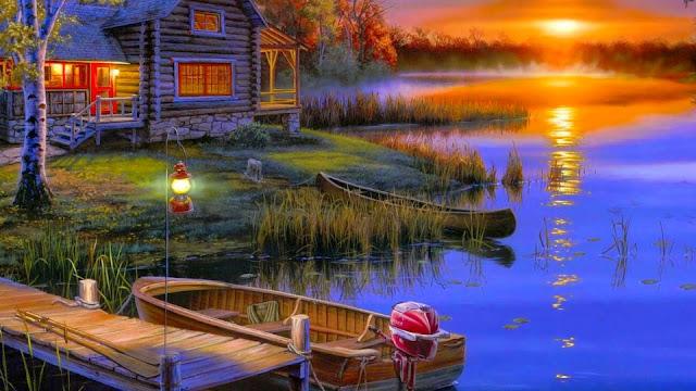 Fondo de Pantalla Pintura Casa del Lago