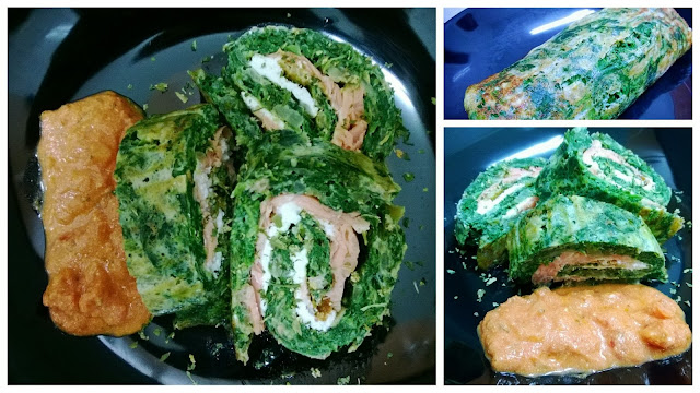 Brazo de gitano de espinacas con salmón y queso
