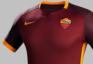 jual online baju bola musim depan Desain simple jersey As Roma home Nike musim 2015/20116