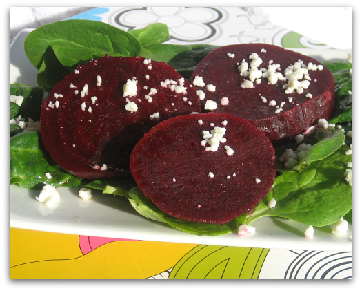 pom beets with baby spinach and feta cheese