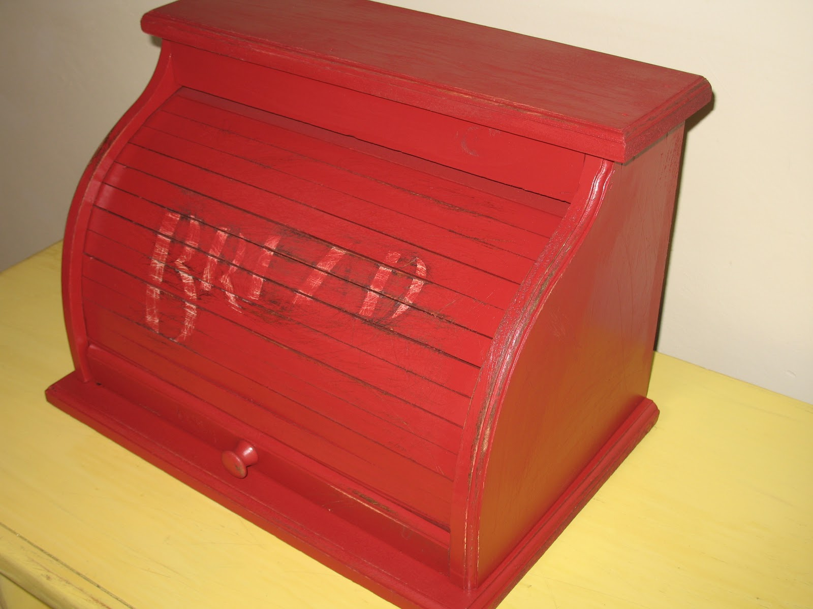 Shabby And Chic Red Bread Box