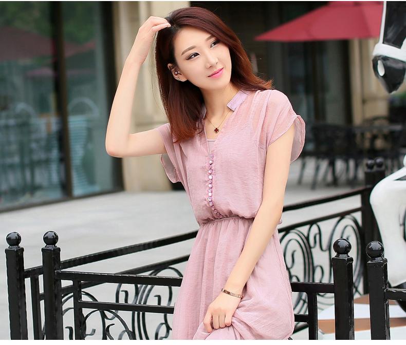 f539ae2680a 2015 summer dress collar temperament Slim was thin chiffon dress big swing  type large size women ...