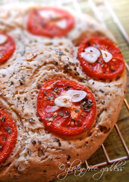 Gluten free focaccia with garlic and tomatoes