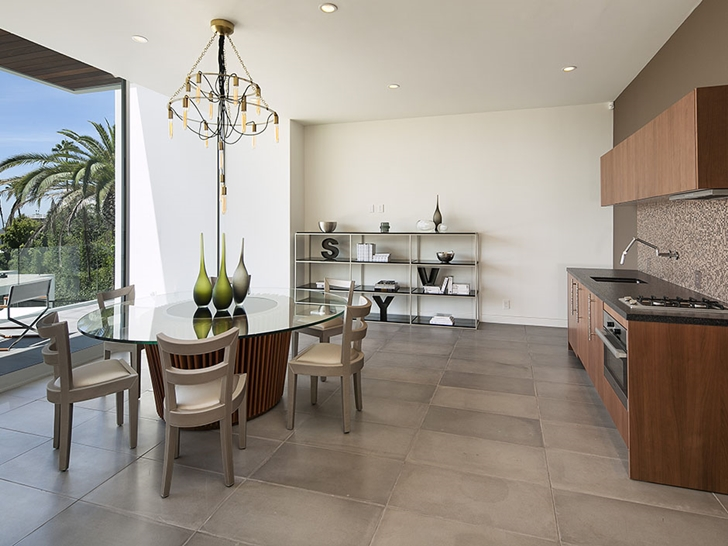 Second kitchen with table in Sunset Plaza Drive modern mansion in Los Angeles