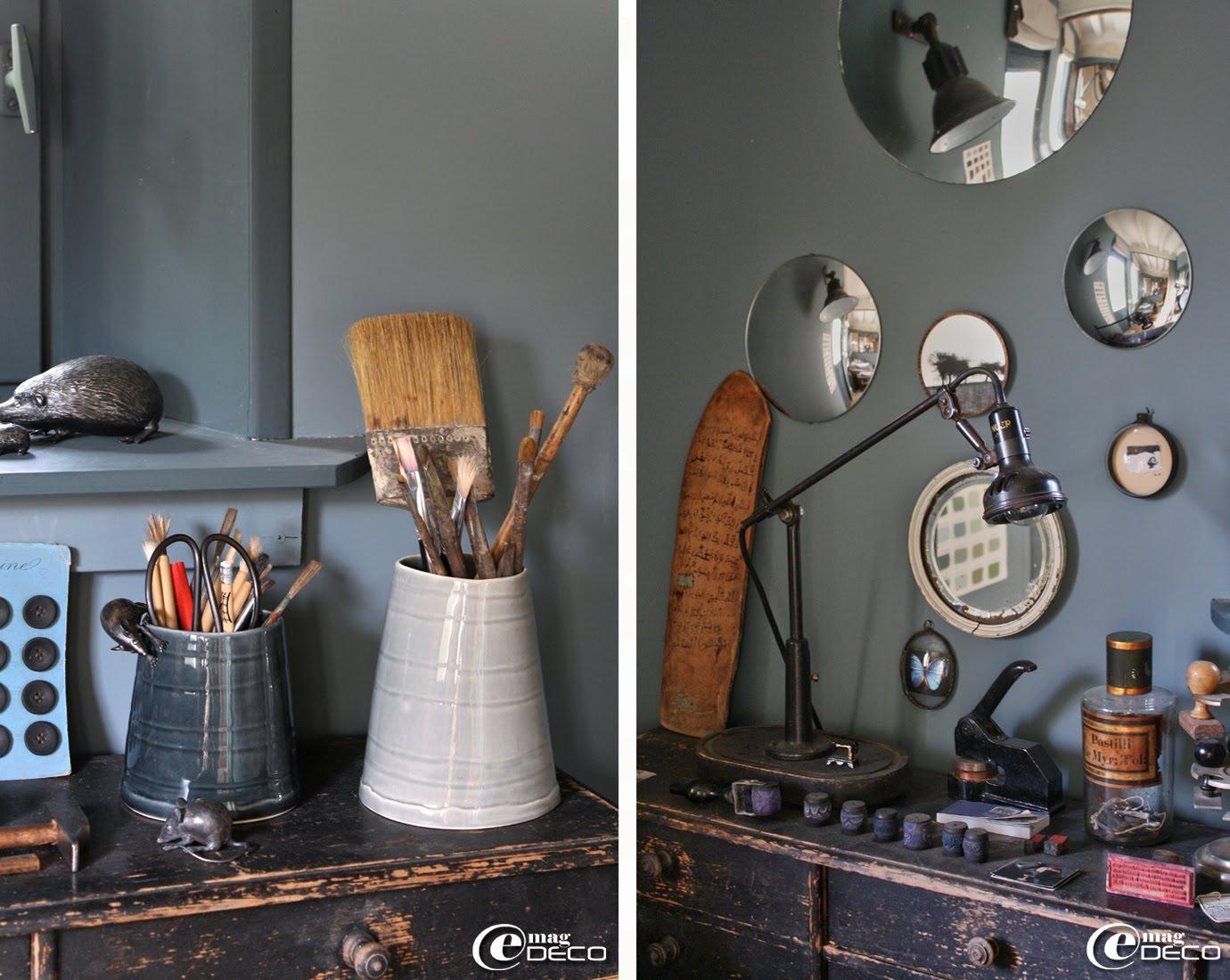 Souris et hérissons en métal du sculpteur Régis Lebel, collection de miroirs de sorcière et ancienne lampe d'atelier