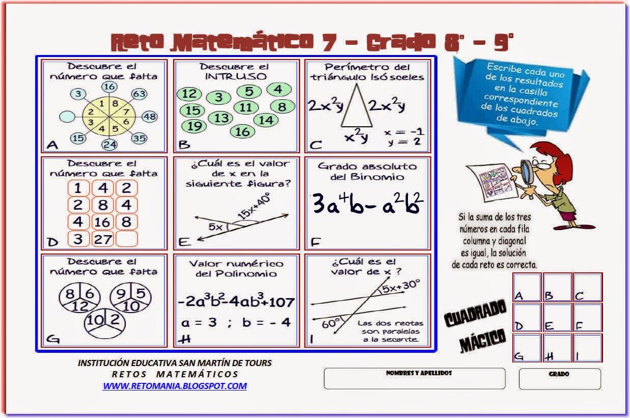 Descubre el Número, El Número que falta, Retos Matemáticos, Desafíos Matemáticos, Problemas Matemáticos, Problemas para pensar, Problemas lógicos, Problemas escolares, El Intruso, Valor Numérico, Grado Absoluto, Grado Relativo, Ángulos, Ángulos Adyacentes, Ecuaciones, Ángulos Suplementarios, Angulos entre dos rectas paralelas y una secante, Angulos alternos externos