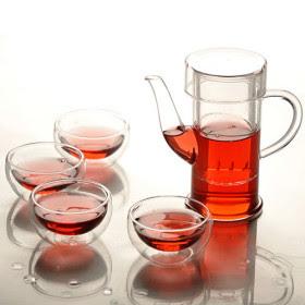 Utensilios de cocina juego de t tetera de cristal y 4 tazas for Juego de tazas de te