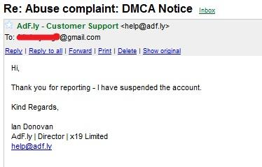 balasan DMCA Notice Adf.ly