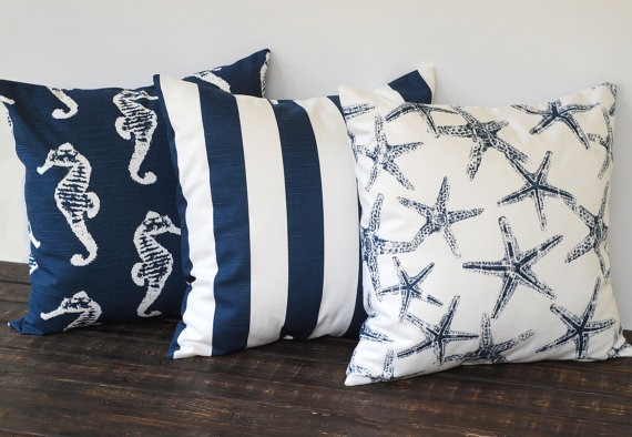 The Lilac Lobster: Navy throw pillow throw-down