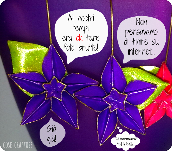 origami earrings - purple flowers