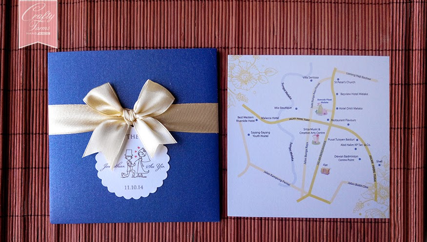 Blue and Yellow Themed Wedding Card Malaysia with Customized Map