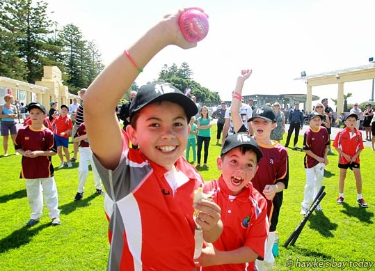 Samuel Pawson, Nelson Park Primary School, Napier, caught one of two balls thrown from the stage, to win tickets to any world cup game - countdown to the Cricket World Cup 2015, at The Sound Shell, Marine Parade, Napier photograph