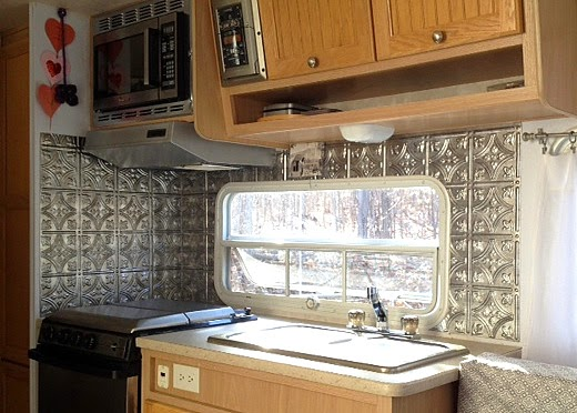 stunning maisie toot maisie toot part faux tin panel backsplash application travel trailer camper turned glamper renovation and remodel with backsplash