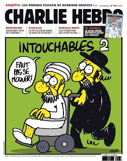 Charlie Hebdo magazine's controversial cover, featuring the latest Mohamed cartoon to hit the news.
