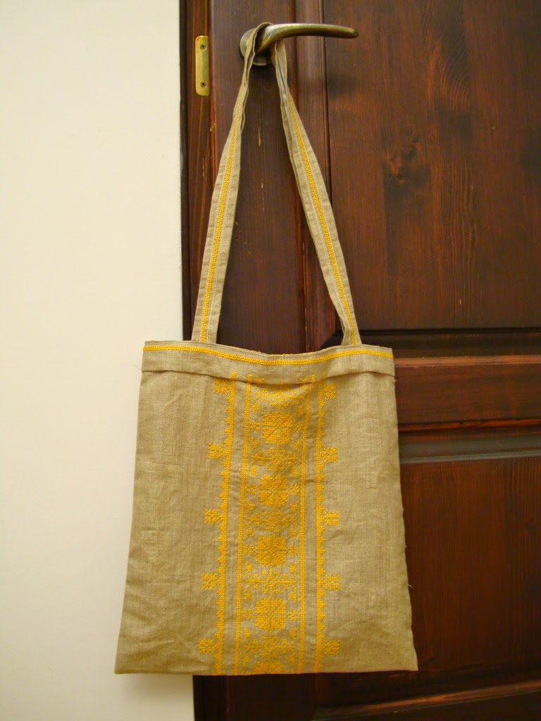 Lniana torba z haftem