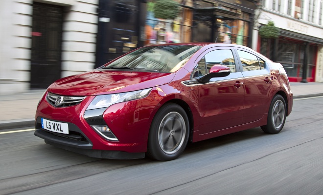 Vauxhall Ampera driving on a UK high street