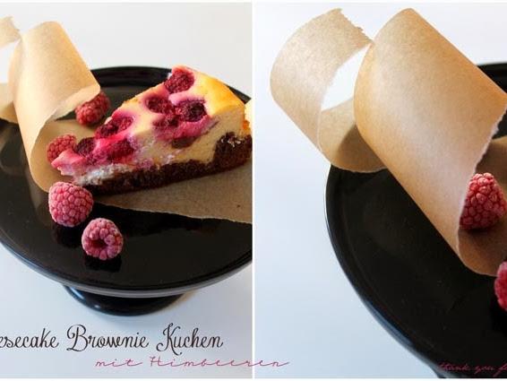 Cheesecake-Brownie-Kuchen mit Himbeeren