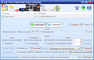 E.M. Free PowerPoint Video Converter V3.20