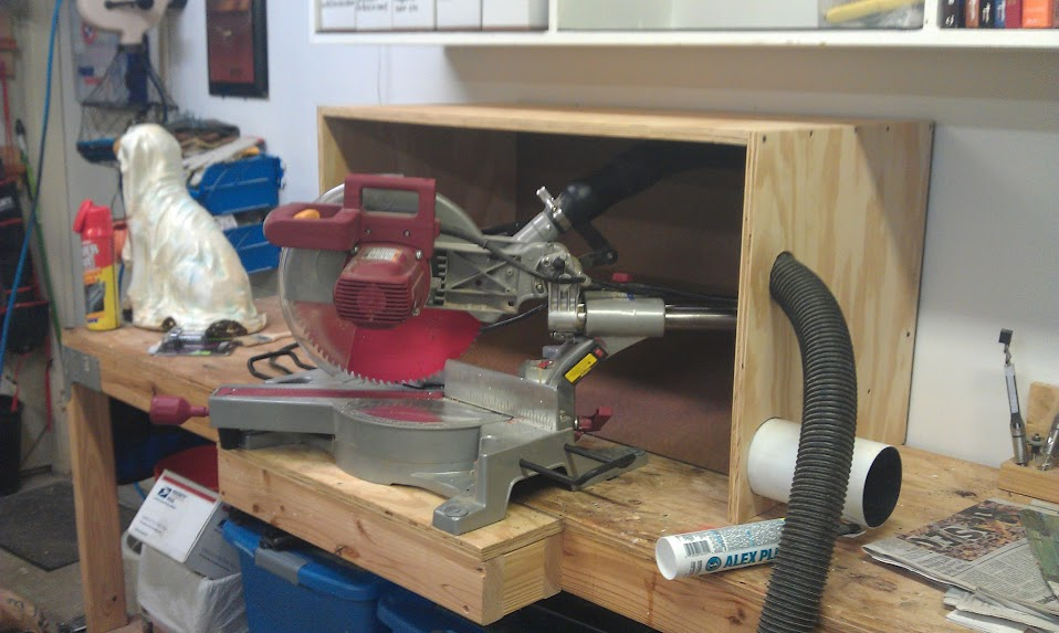 Daves workshop blog chicago electric 98194 12 sliding compund i also moved the saw to a firmer bench and had to extend the bench to accomodate for the length of the saw and its rails greentooth Choice Image