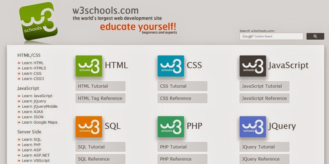 W3school untuk belajar koding website