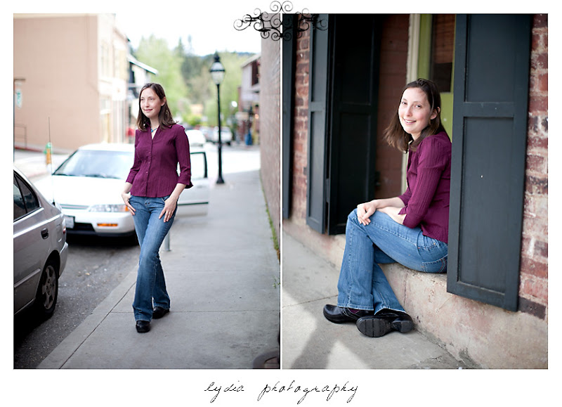Lifestyle commercial portraits in the doorway in Downtown Nevada City, California