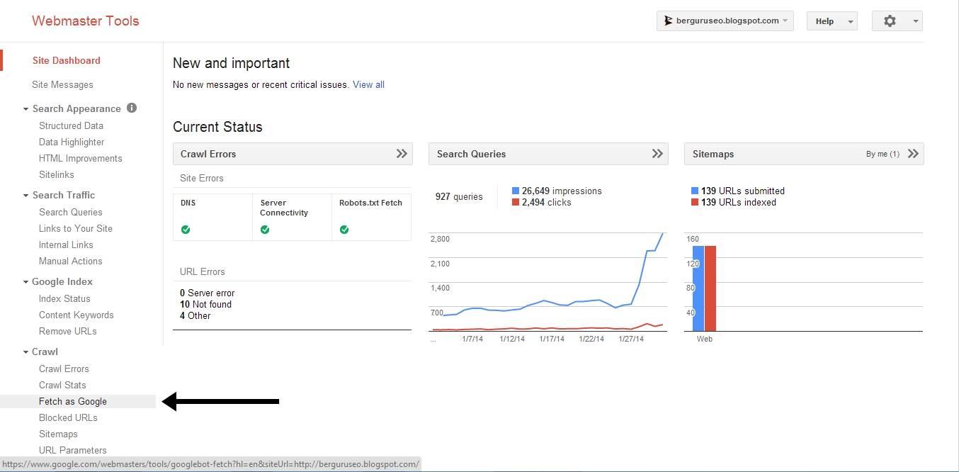 Cara Agar Artikel Cepat Terindex Google Fetch as Google
