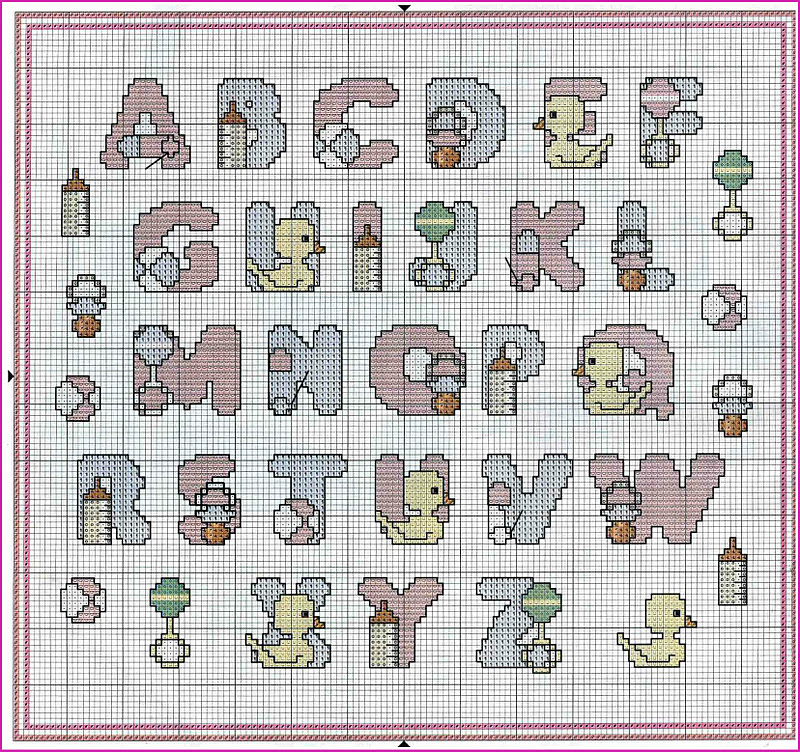Per ricamo schemi free punto croce speciale neonato for Punto croce schemi alfabeto
