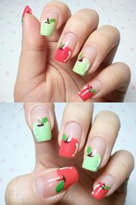 Decoração de unhas maçã