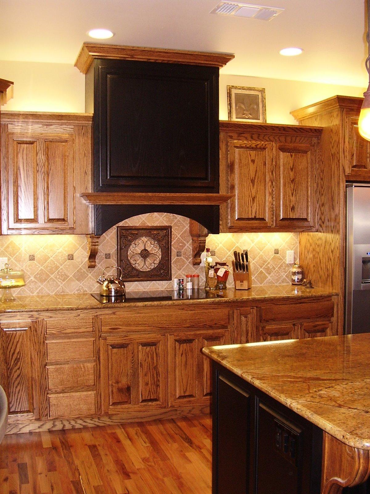 Scott River Custom Cabinets Dark Stained Oak Painted Black Raised Panel Doors