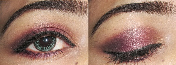 Smokey purple gold eye makeup