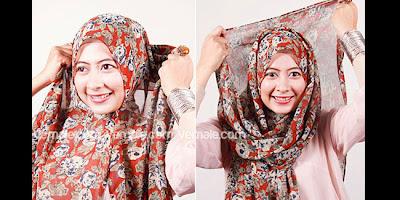 Cara Memakai Jilbab Hijab Pashmina Simple Modern Kreasi Chiffon Motif Casual