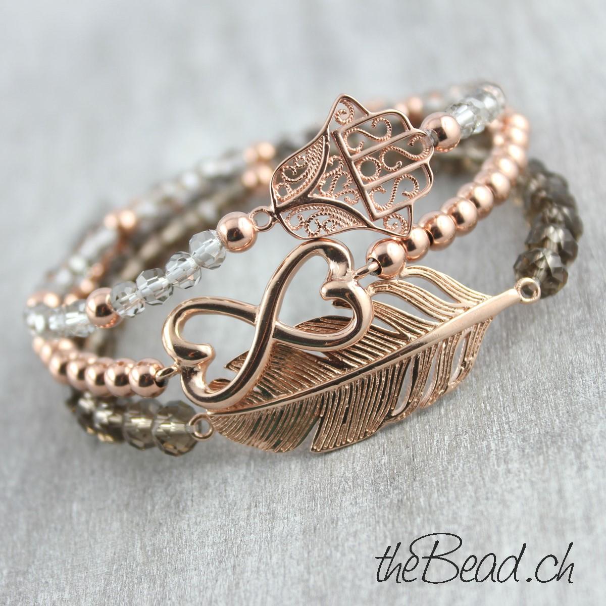 Schweizer Schmuck Onlineshop theBead für Damenarmbänder in rosegold vergoldeten Armbändern