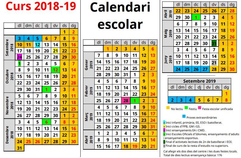 Calendari escolar curs 2018 -2019