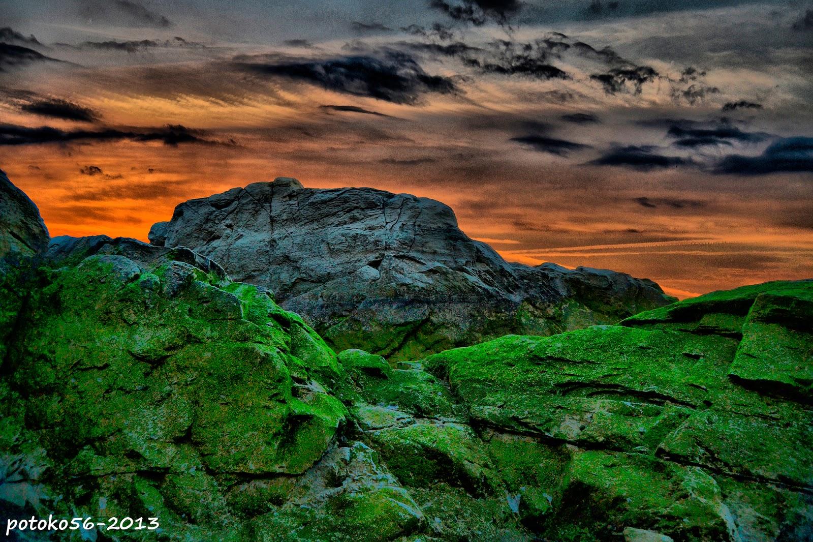 Las piedras de los barros en el amanecer