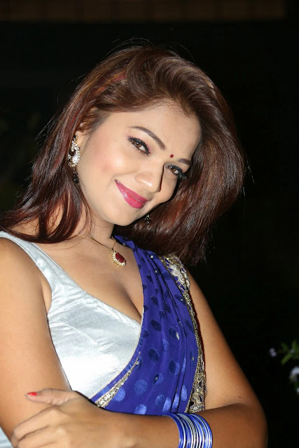 Ashwi in Spicy Blue Saree Silver Sleevless Blouse Stunning Smiling Beauty
