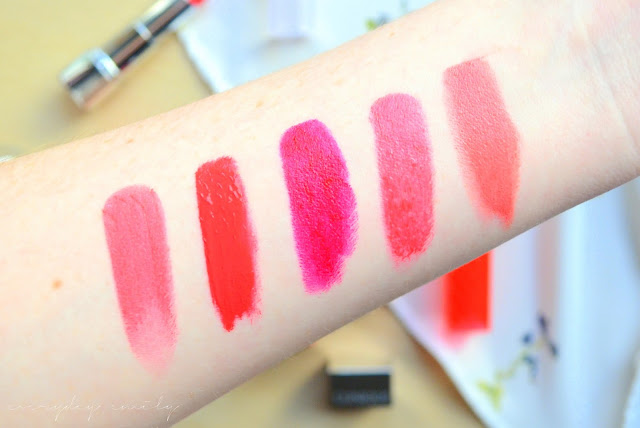 Bright lipstick swatches from Revlon Ultra HD Hydrangea, Rimmel Apocalips Stella, Revlon Lip Butter Wild Watermelon, Clinique Cherrypop and Essence Coral Calling