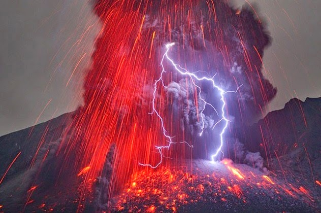 4. Volcanic lightning: Volcanic lightning occurs when a lightning storm takes place in the middle of a volcanic eruption. The theory as to why this happens is that when the volcano erupts, it projects positively-charged debris into the atmosphere. These charges then react with negative charges already present, which results in a bolt of lightning. - Sometimes Nature Is Awesome. Other Times, It'll Scare The Life Out Of You. Like This.