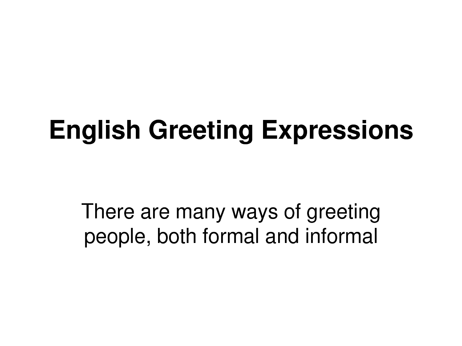 Learning Didactic English Language Greetings Tittles And Introducing