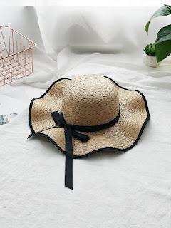 Contrast Trim Straw Hat With Bow