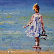 BEACH GIRL DIANE WHITEHEAD FINE ART OIL PAINTING. 6X6 OIL ON BOARD
