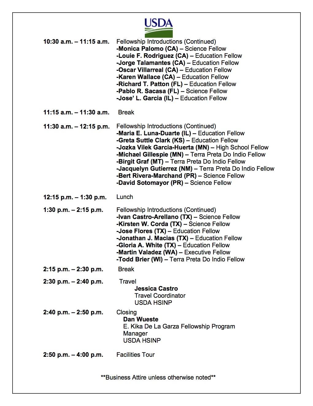2012 USDA E. Kika De La Garza Fellowship Experience