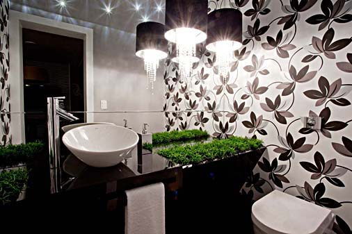 decoracao lavabo branco:Apê 114: Papel de Parede no Banheiro